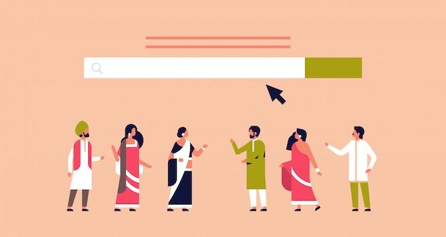 Pessoas indianas reunião pesquisa on-line internet navegação web conceito site bar gráfico plano horizontal