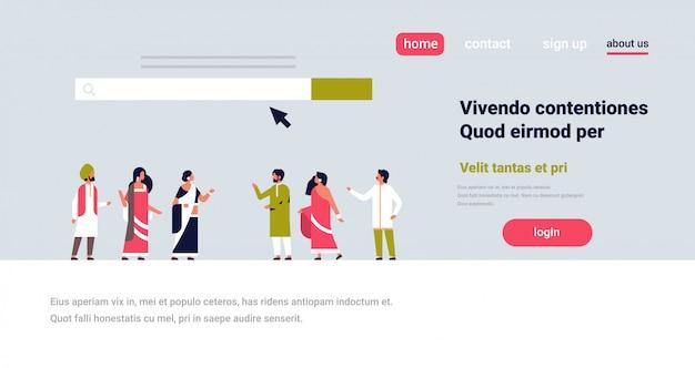 Pessoas indianas reunião pesquisa on-line internet navegação web conceito site barra
