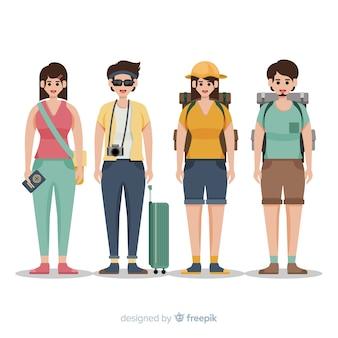 Pessoas indo em um fundo de viagem