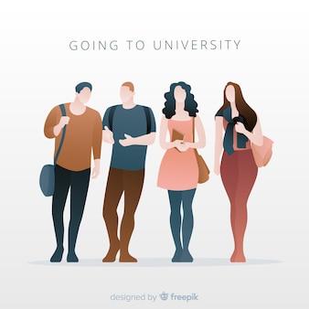 Pessoas indo para o pacote da universidade