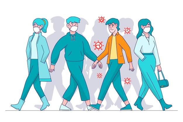 Pessoas infectadas entre pessoas saudáveis