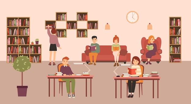 Pessoas inteligentes ou alunos lendo e estudando em uma biblioteca pública.