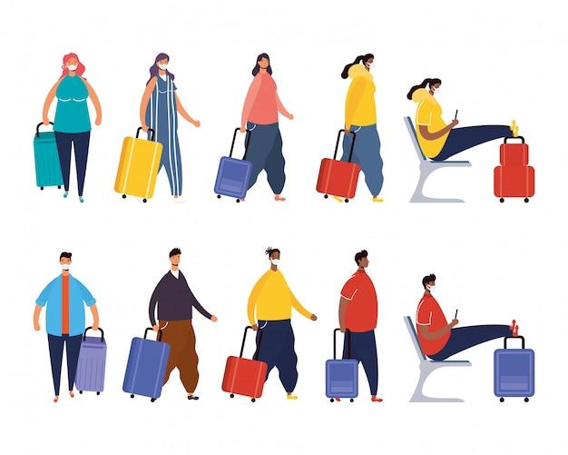 Pessoas inter-raciais viajantes com malas