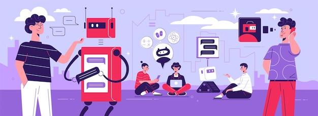 Pessoas interagindo com robô