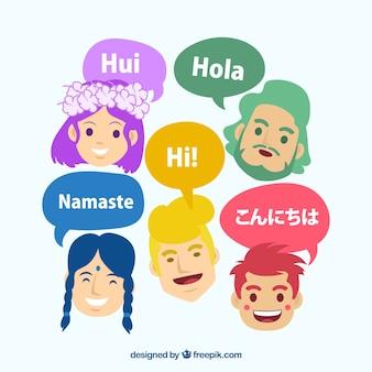 Pessoas internacionais falando línguas diferentes