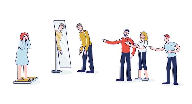 Pessoas intimidando homens e mulheres gordos com dedos apontando excesso de peso