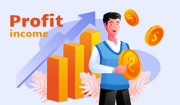 Pessoas investindo e comemorando o crescimento do lucro