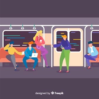 Pessoas, ir, metrô