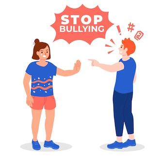 Pessoas irritadas bullying ilustrado