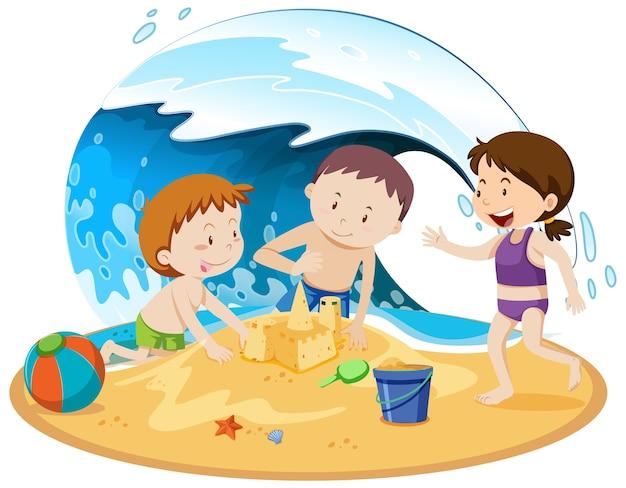 Pessoas isoladas na praia