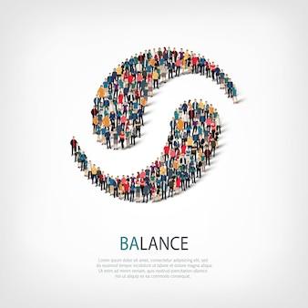 Pessoas isométricas aglomeradas em forma de ying yang