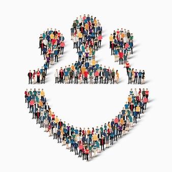 Pessoas isométricas aglomeradas em formas de pessoas