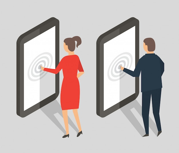 Pessoas isométricas com celular