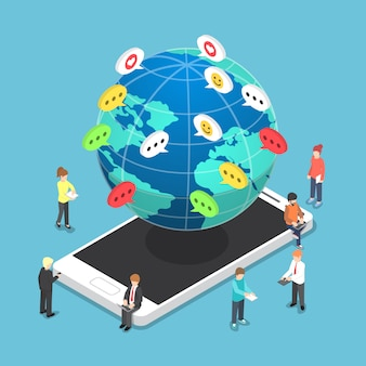 Pessoas isométricas conversando com outras pessoas através de dispositivos eletrônicos