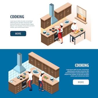 Pessoas isométricas cozinhando banners da web
