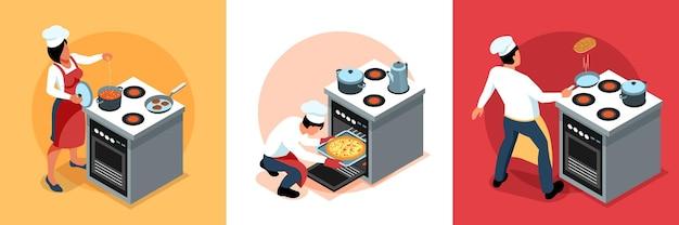 Pessoas isométricas cozinhando conjunto de ilustração