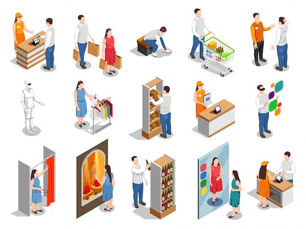 Pessoas isométricas de consumidores comerciais