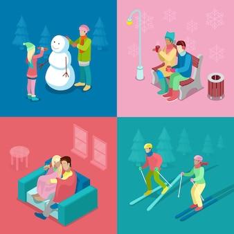 Pessoas isométricas de inverno. casal de esqui, menina e menino fazendo boneco de neve, caminhando ao ar livre. 3d plano