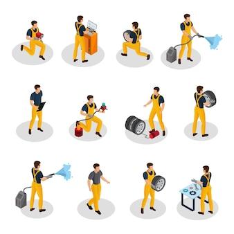 Pessoas isométricas de serviço automático definidas com procedimentos de diagnóstico de lavagem e troca de pneus de pintura automotiva isolados