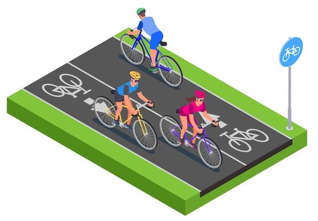 Pessoas isométricas em capacetes pedalando pela ciclovia 3d