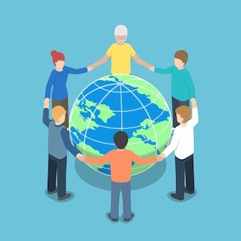 Pessoas isométricas em todo o mundo de mãos dadas