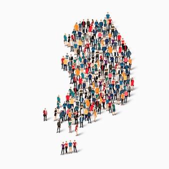 Pessoas isométricas formando mapa da coreia do sul