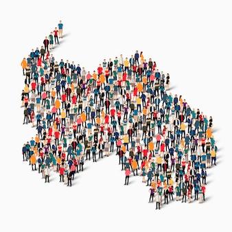 Pessoas isométricas formando mapa da ossétia do sul