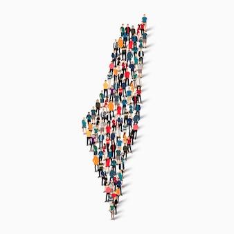 Pessoas isométricas formando mapa da palestina
