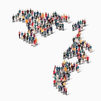 Pessoas isométricas formando mapa da republika srpska