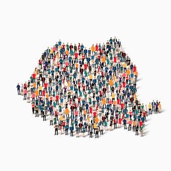 Pessoas isométricas formando mapa da romênia