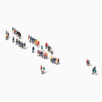 Pessoas isométricas formando mapa das ilhas salomão Vetor Premium