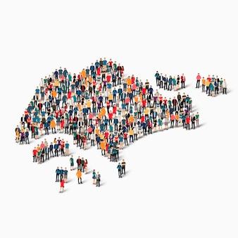 Pessoas isométricas formando mapa de cingapura