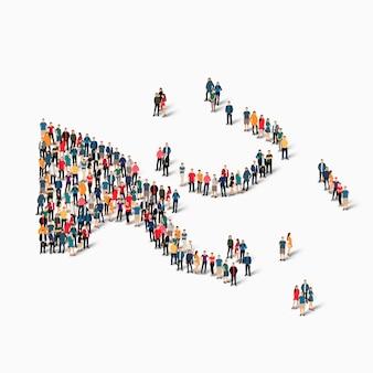Pessoas isométricas formando mapa de papua-nova guiné
