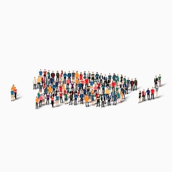 Pessoas isométricas formando mapa de porto rico