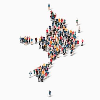 Pessoas isométricas formando mapa de sark