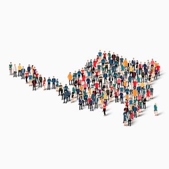 Pessoas isométricas formando mapa de sint maarten