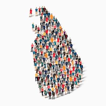 Pessoas isométricas formando mapa do sri lanka