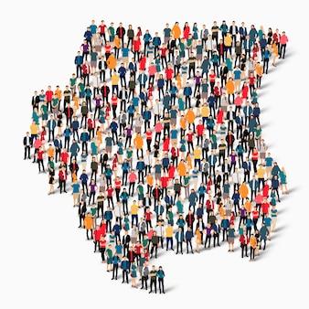 Pessoas isométricas formando mapa do suriname