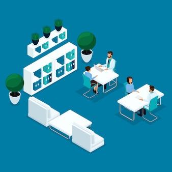 Pessoas isométricas na moda, consultório médico, o médico está recebendo pacientes, o cirurgião, o paciente