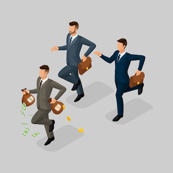 Pessoas isométricas na moda, empresário, conceito com jovem empresário, dinheiro, lucro, ouro, executando, perseguindo, perda de dinheiro isolada