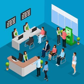 Pessoas isométricas no conceito de escritório do banco