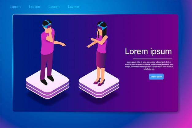 Pessoas isométricas usam óculos de realidade virtual em 3d