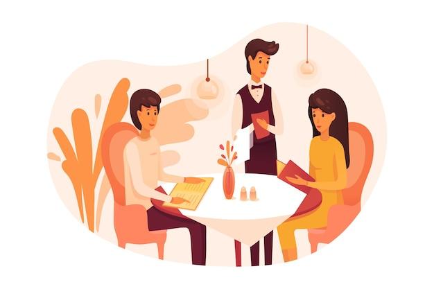 Pessoas jantando em restaurante, casal em encontro romântico e garçom
