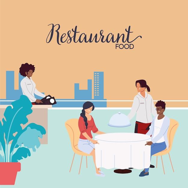 Pessoas jantando em um restaurante luxuoso ao ar livre e garçons fazendo a ilustração do pedido