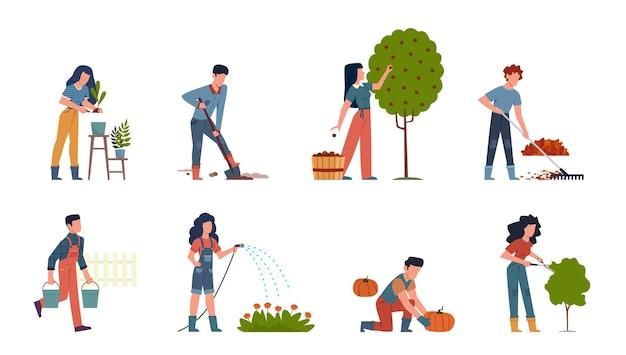 Pessoas jardinando