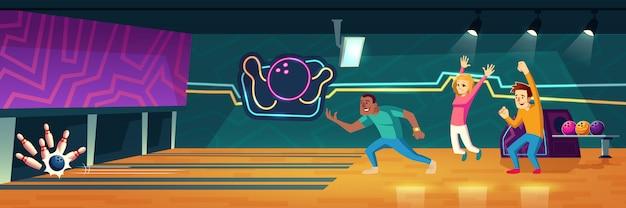 Pessoas jogando boliche no clube jogando bolas ao longo de becos para acertar pinos cartoon ilustração