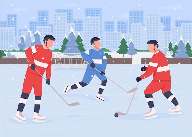 Pessoas jogando hóquei na pista de gelo plana. as equipes profissionais competem entre si para ganhar o campeonato. personagens de desenhos animados em 2d para jogadores de hóquei no gelo com parque da cidade
