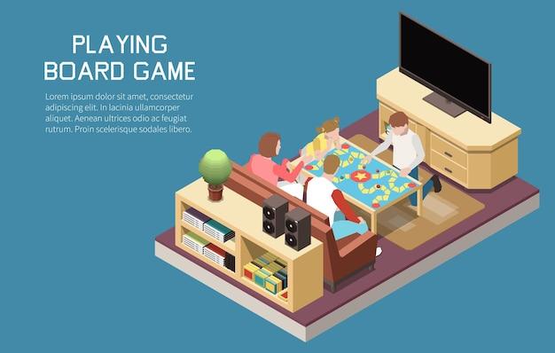 Pessoas jogando jogos de tabuleiro, composição isométrica com conjunto de imagens internas, jogo em equipe