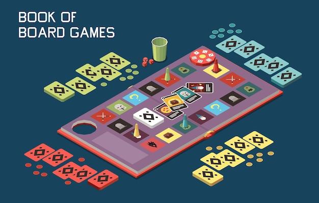 Pessoas jogando jogos de tabuleiro, composição isométrica com vista de um jogo de mesa com cartas e fichas