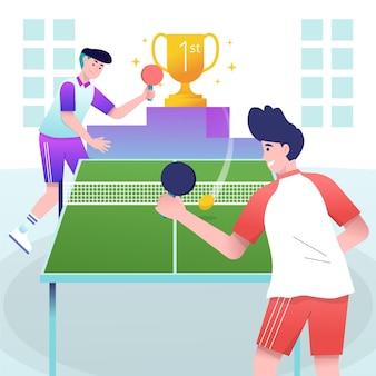 Pessoas jogando tênis de mesa dentro de casa